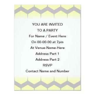 Gray Zigzags, Yellow Hexagons Pattern. Custom Invitations