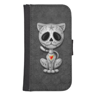Gray Zombie Sugar Kitten Cat Samsung S4 Wallet Case