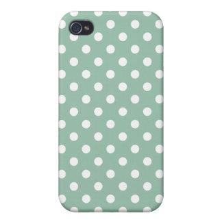 Grayed Jade Green Polka Dot Pattern iPhone 4/4S Cover