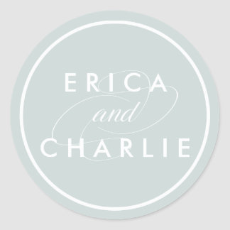 Grayed Jade Personalized Wedding Classic Round Sticker