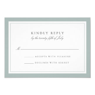 Grayed Jade Simple Border Wedding RSVP Card 9 Cm X 13 Cm Invitation Card