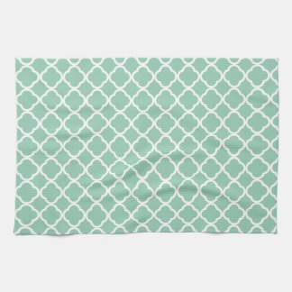 Grayed Jade. Spearmint & White Quatrefoil Pattern Tea Towel