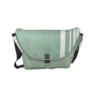 Grayed Jade Trio Stripes with White Messenger Bags