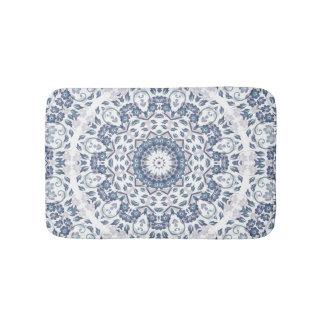 Grayish  Blue White Floral Mandala Bath Mat