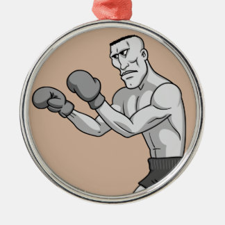 grayscale boxer christmas ornament