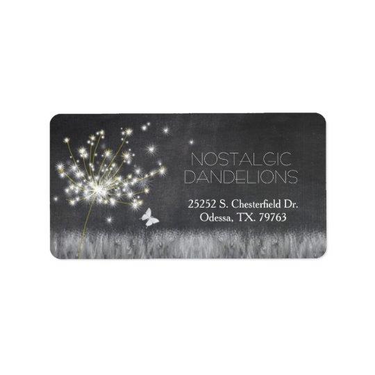 Grayscale Chalkboard Dandelion Business Label