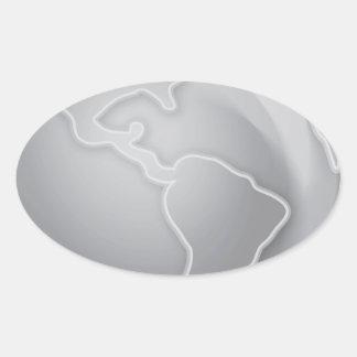grayscale-Earth SILVER METALLIC CONTINENTS BACKGRO Sticker