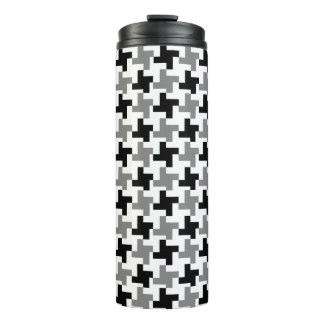 Grayscale Houndstooth Thermal Tumbler