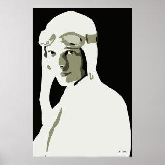 Grayscale vector art Amelia Earhart 24 x 36 Posters
