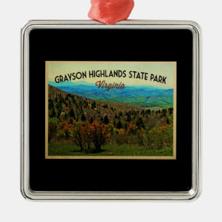 Grayson Highlands Virginia Silver-Colored Square Decoration