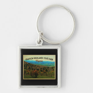 Grayson Highlands Virginia Silver-Colored Square Key Ring
