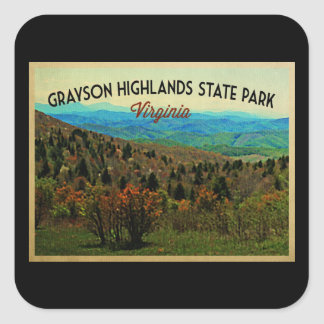 Grayson Highlands Virginia Square Sticker