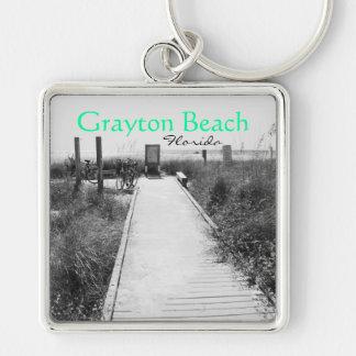 Grayton Beach Florida Keychain B W speck color