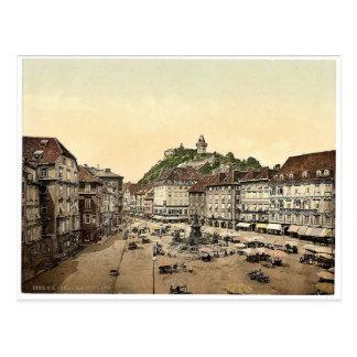 Graz, market place, Styria, Austro-Hungary classic Postcard