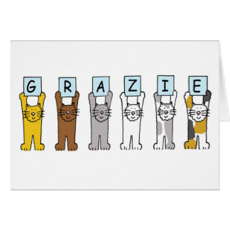 Grazie, Italian thanks, with cats. Card