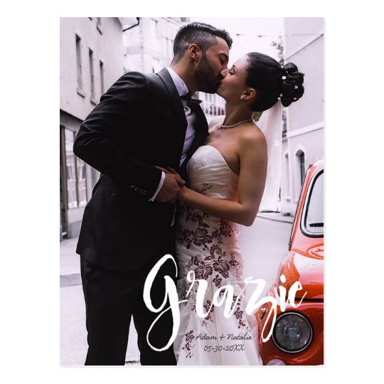Grazie, Modern, Script • Photo, Names & date