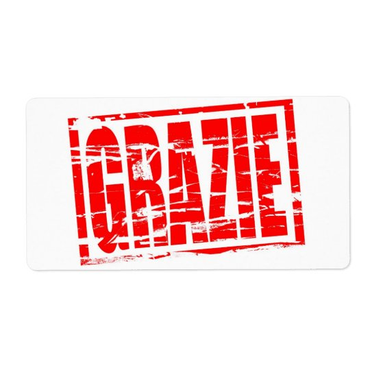 Grazie red rubber stamp effect shipping label