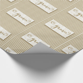 Grazie Typography with Soft Taupe Cream Stripes Wrapping Paper