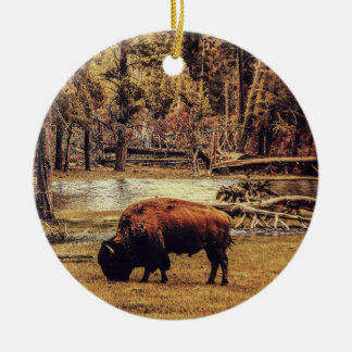Grazing Buffalo Ornament