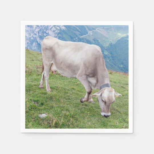 Grazing cow paper napkins