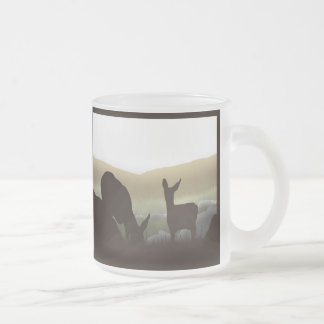 Grazing Deer and Fawn Silhouette Coffee Mugs