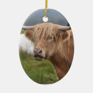 Grazing Highland Cow Double-Sided Oval Ceramic Christmas Ornament