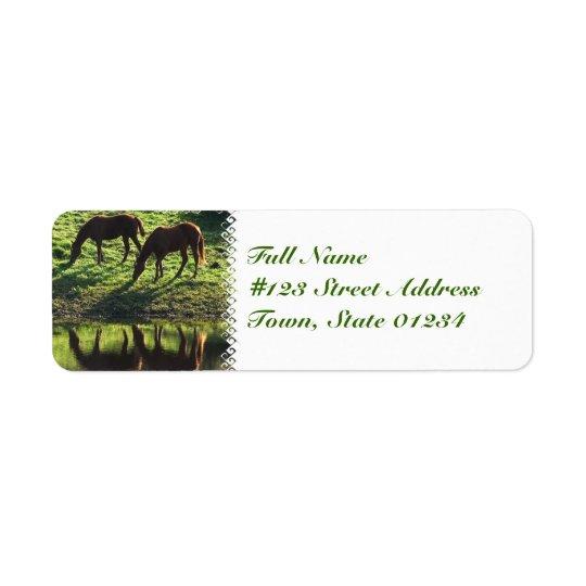 Grazing Horse Pair Mailing Label Return Address Label