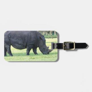 Grazing Rhino Luggage Tag
