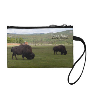 Grazing Wood Bison; Customizable Coin Wallets