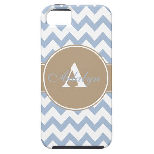GRBlue-Tan Chevron Monogram iPhone 5/5S, Vibe Case
