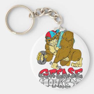Grease Monkey Basic Round Button Key Ring