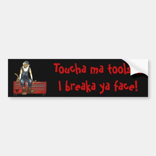 Grease Monkey Customized Toolbox Sticker (Red) Bumper Sticker