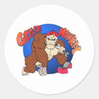 Grease Monkey Round Sticker