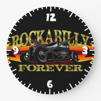 Greaser Rockabilly Hot Rod Large Clock