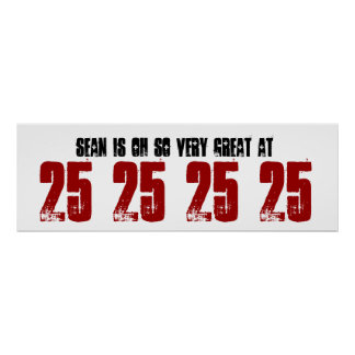 Great 25th Birthday Party Banner Custom Name Poster