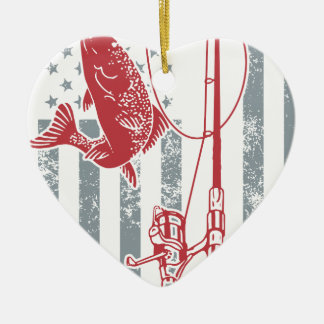 Great American Flag Fishing Shirts for July 4th Christmas Ornament