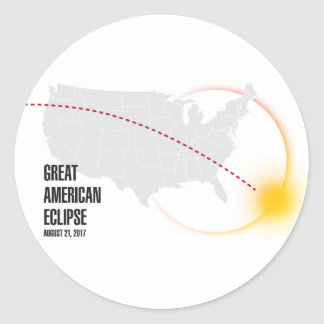 Great American Solar Eclipse 2017 Classic Round Sticker