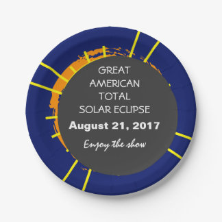 Great American Total Solar Eclipse customizable Paper Plate