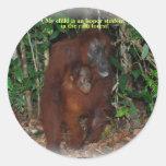 Great Ape Orangutan Jungle Family Round Stickers