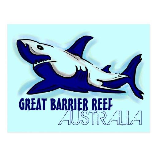 Great Barrier Reef Australia blue shark postcard