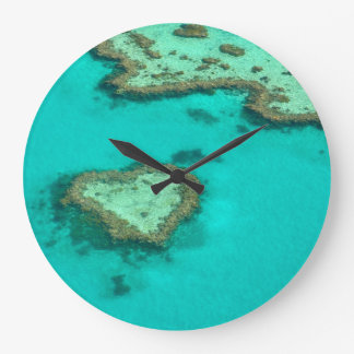 Great Barrier Reef, Australia heart coral Large Clock