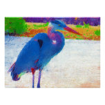 Great blue heron abstract posters