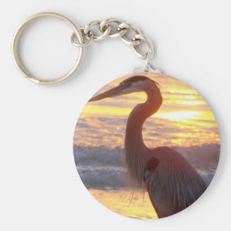 Great Blue Heron at Sunset Basic Round Button Key Ring