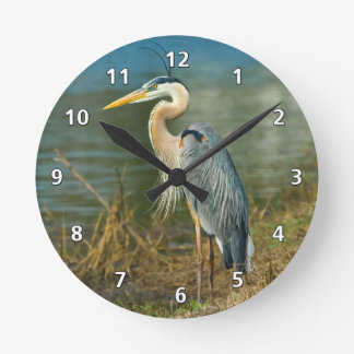 Great Blue Heron at the Pond Round Clock