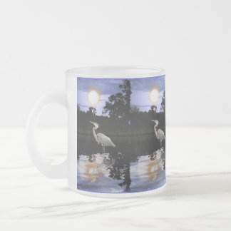 Great Blue Heron at Twilight Wildlife Art Frosted Glass Mug