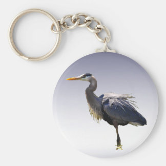 Great Blue Heron Basic Round Button Key Ring