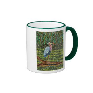 Great Blue Heron Beaded Print Ringer Ringer Mug