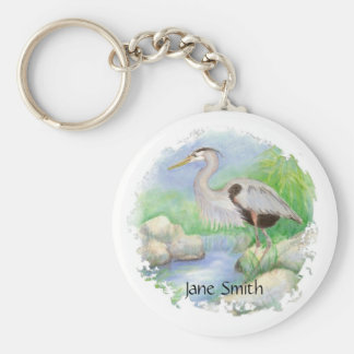 Great Blue Heron Bird Nature Basic Round Button Key Ring