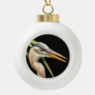 Great Blue Heron Ceramic Ball Decoration