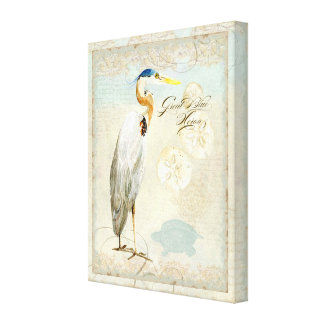 Great Blue Heron Coastal Beach - Watercolor Art Canvas Print